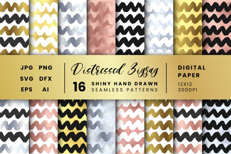 16 Distressed Vector Brush Strokes Zigzag Seamless Patterns