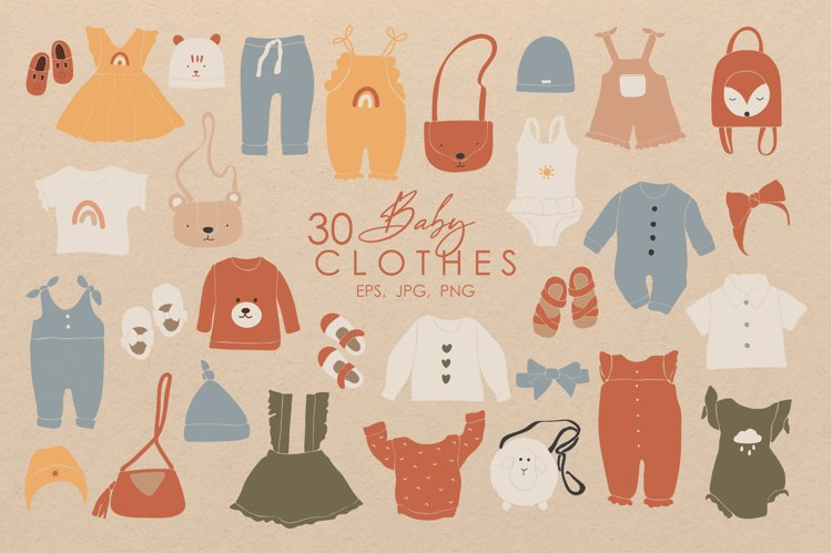 Boho Baby Clothes Clipart, 30 Abstract Baby Elements