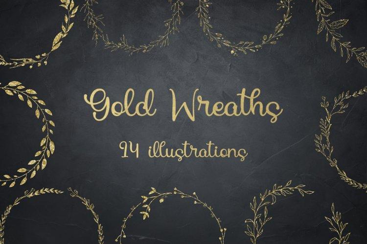 Gold Glitter Laurels Clipart, Laurel Wreaths, Glitter Wreath