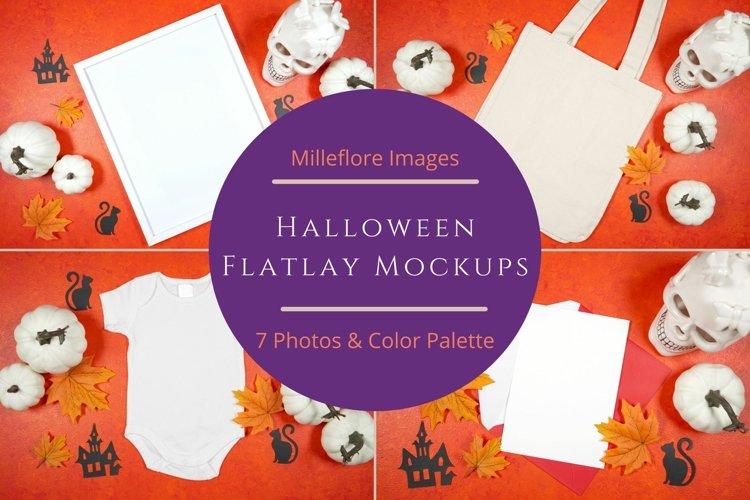 Halloween Flatlay Mockups Styled Stock Photo Bundle. Orange.