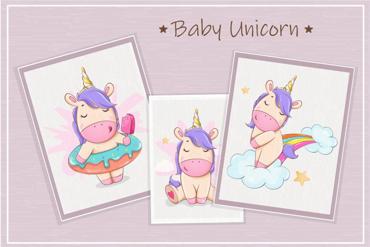 Baby unicorn cartoon character. Cute little unicorn clipart