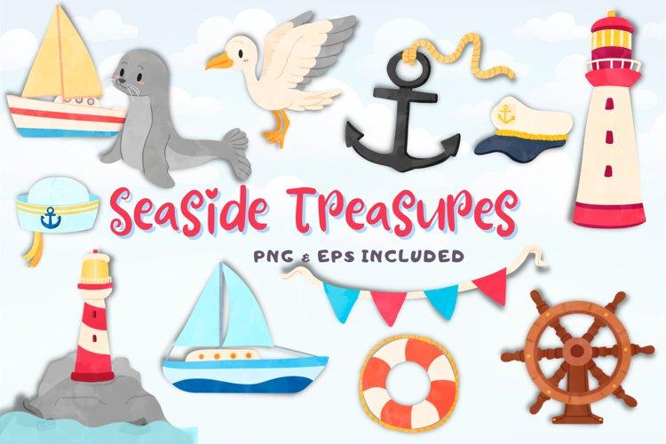 Seaside Treasures Watercolor Style Clip Art