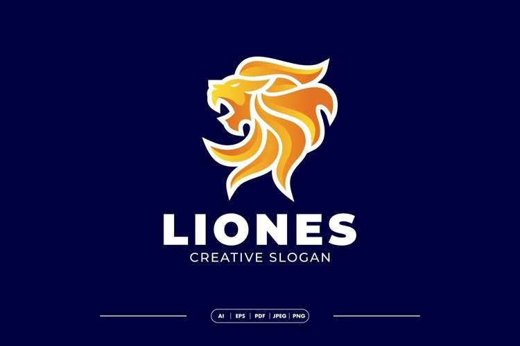 Gradient Fire Lion Modern Logo