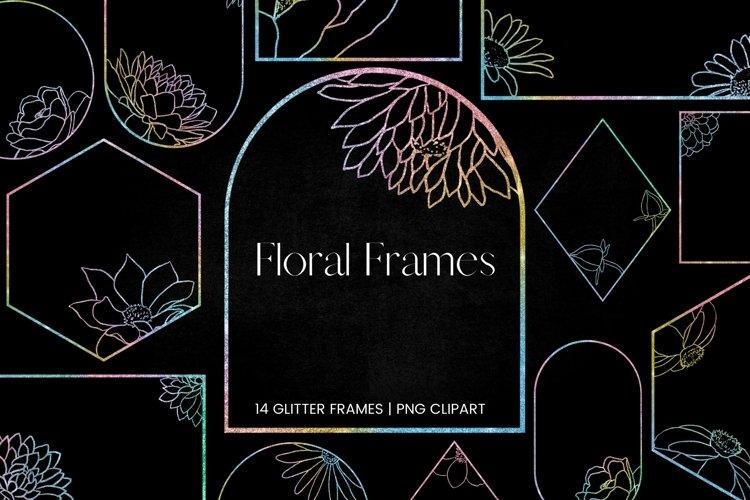 Rainbow Glitter Floral Frames Clipart