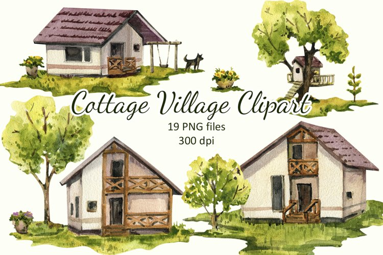 Watercolor Summer Houses , Cottage Village, Trees and lawn