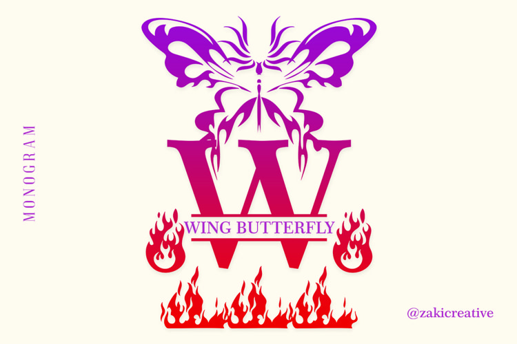 Butterfly Fire Monogram example image 1
