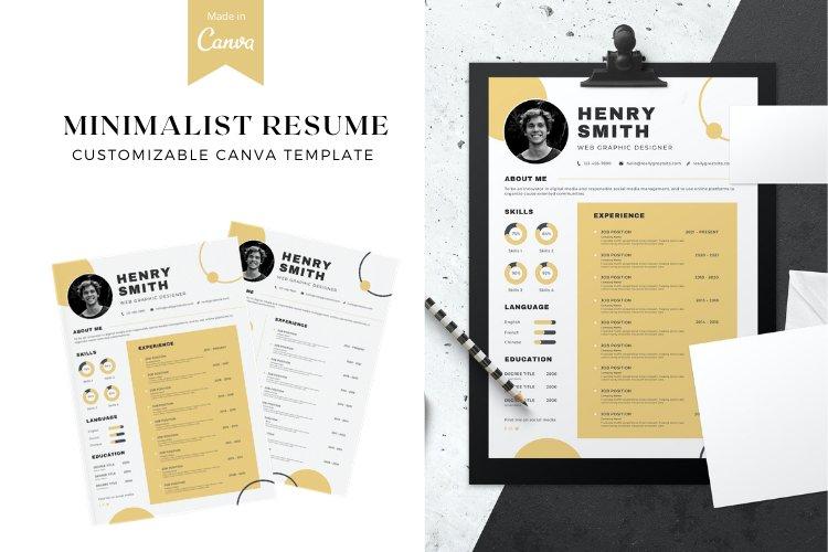 Minimalist Resume Canva Template example
