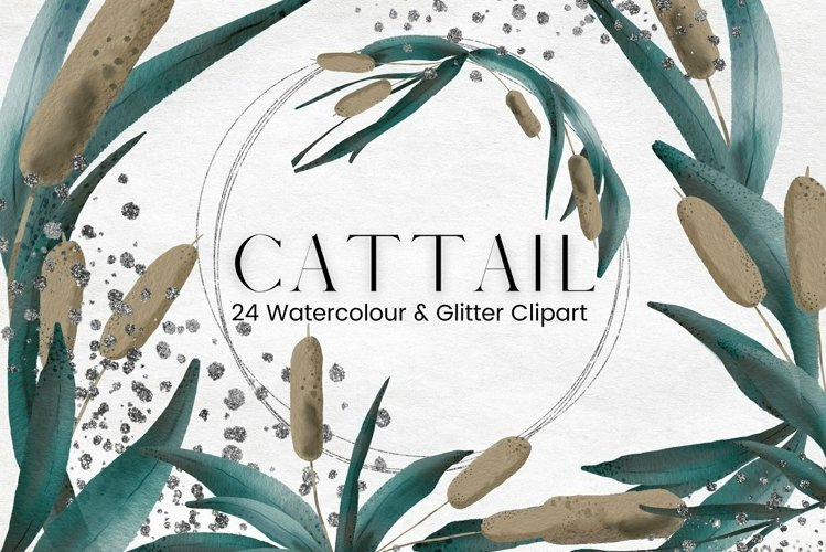 Watercolour Cattail and Silver Glitter Frames Clipart