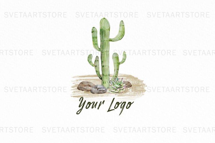 Premade Watercolor Cactus Logo, Succulent Logo