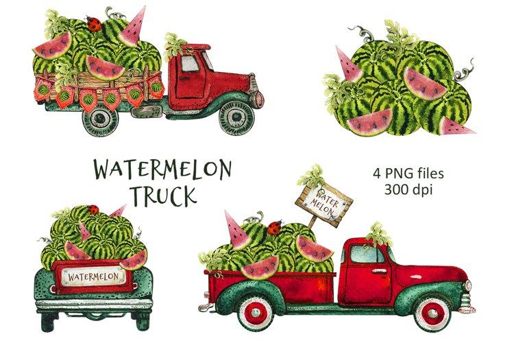 Watercolor Watermelon Truck Clipart png, Summer Fruit set