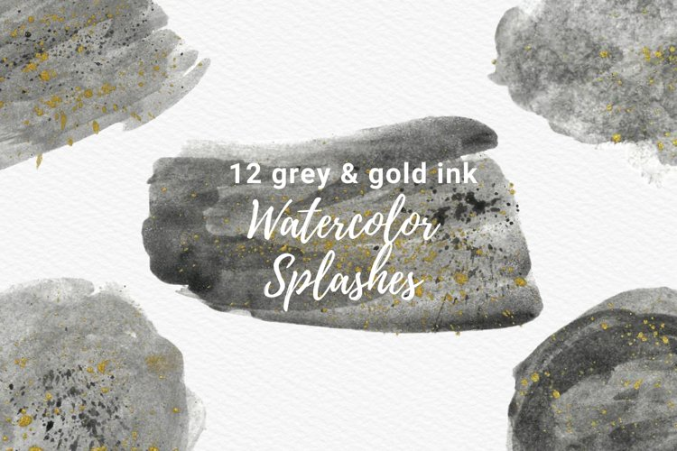 Gray Watercolor Splash with Gold Ink Clipart example image 1