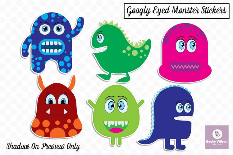 Googly Eyed Little Monsters Stickers example image 1