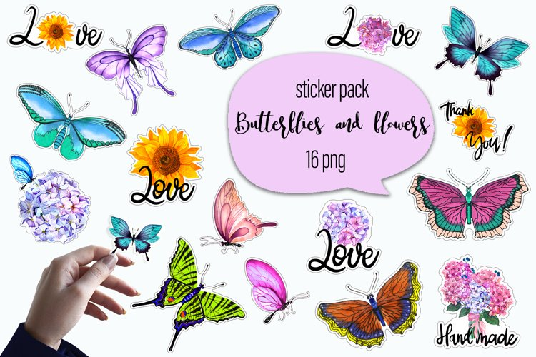 Butterflies and flowers watercolor - sticker pack example image 1