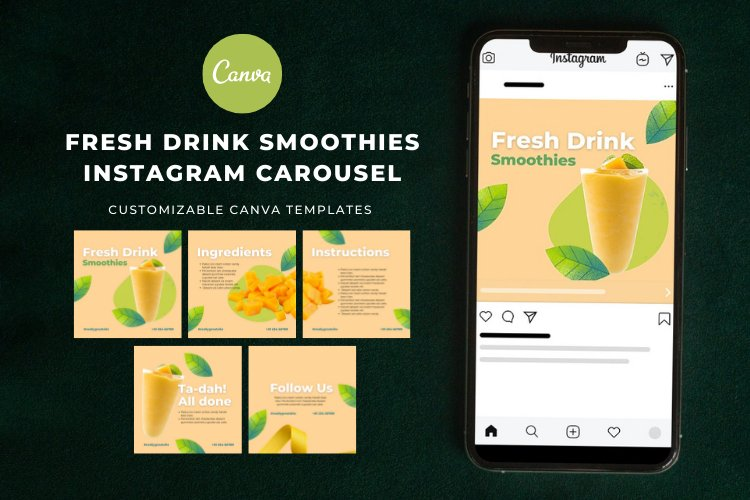 Instagram Carousel Post Canva Templates example