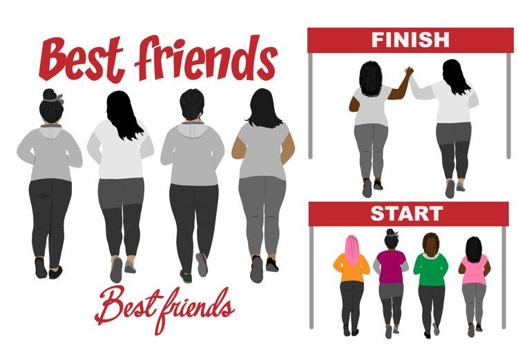 Best friends clipart curvy girls plus size clipart Besties