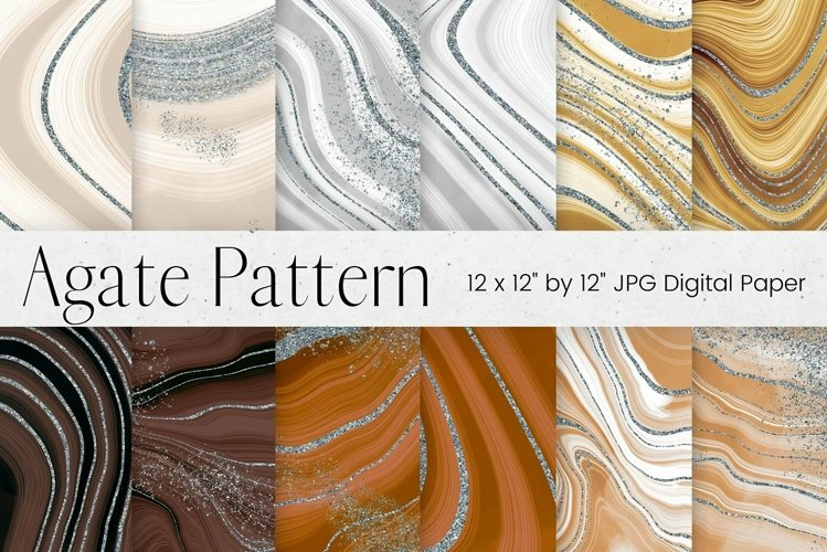Neutral Colour Agate and Silver Glitter Digital Paper