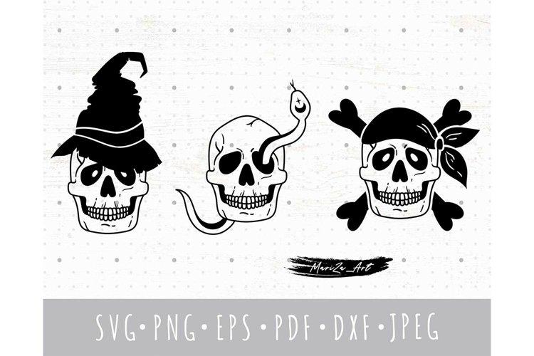 Spooky Halloween skulls SVG set, Skeleton PNG