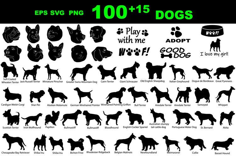 Dog silhouette Breeds SVG EPS. Black Bundle