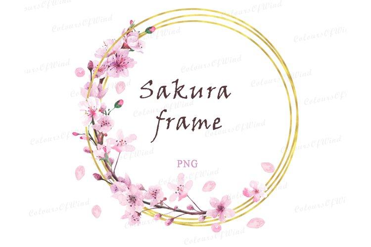 Watercolor Cherry Blossom Frame, Wedding Logo PNG, Sakura
