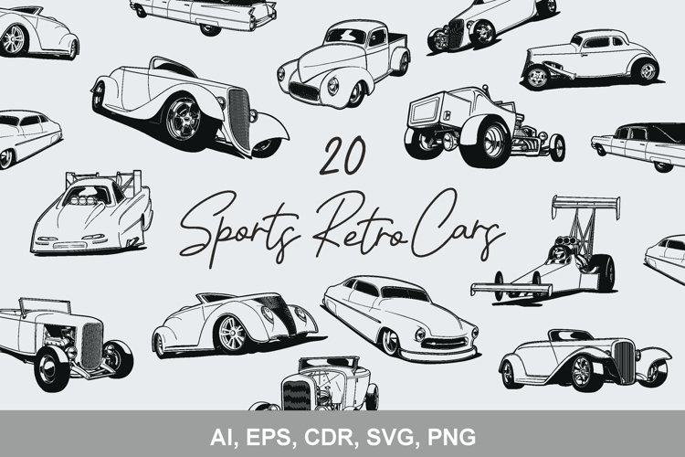 Retro cars 20 silhouettes AI. SVG. EPS. CDR. PNG. JPEG