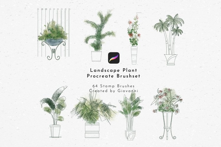 Landscape Isolated Plant Elements Stamp Brush