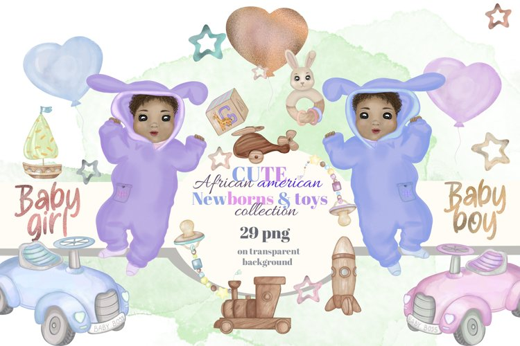 Babies clipart. Watercolor african american babiesb&toys set