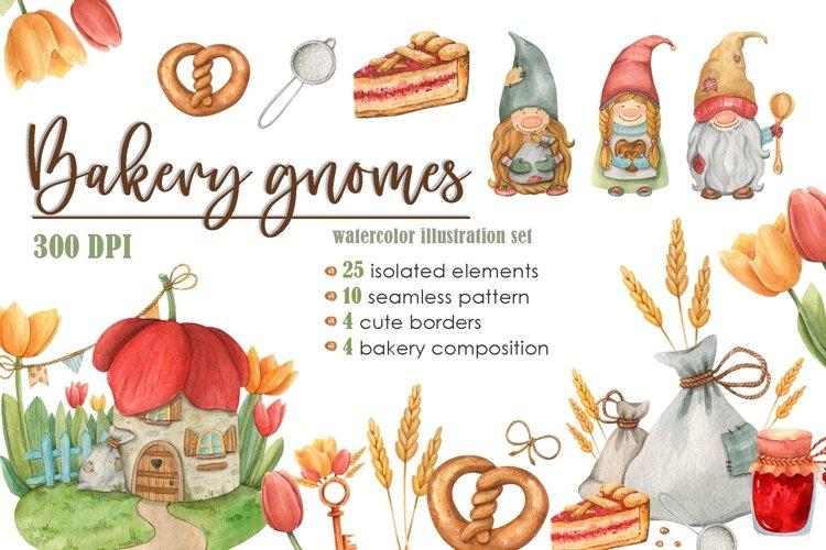 Bakery gnomes watercolor illustration set