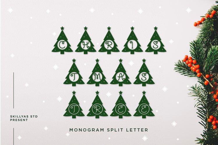 Christmas tree monogram split letter example image 1