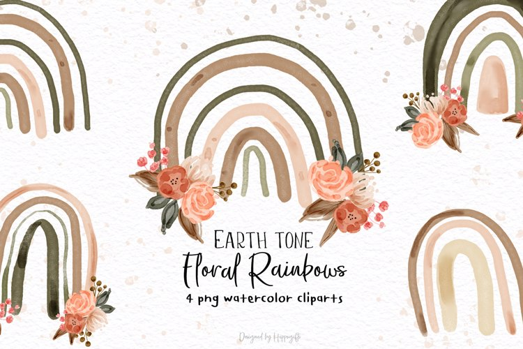 Watercolor Floral Rainbow PNG Cliparts