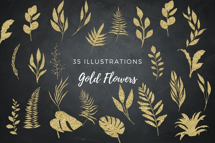 Gold glitter floral clip arts, Gold flower elements