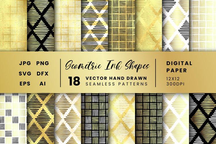 18 Geometric Ink Shapes Vector Patterns, Gold Digital Paper
