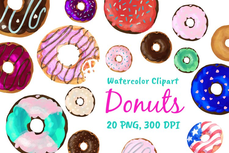 Watercolor Doughnuts Graphics - Donut Bakery Clipart Png example image 1