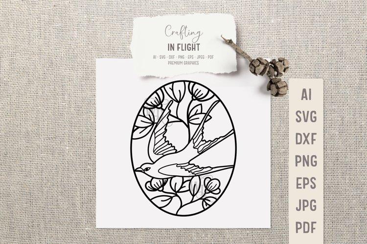 Romantic bird SVG design | Vintage bird SVG cut file