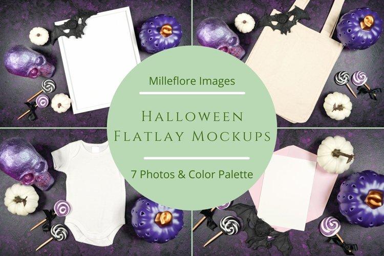 Halloween Flatlay Mockups Styled Stock Photo Bundle. Purple.