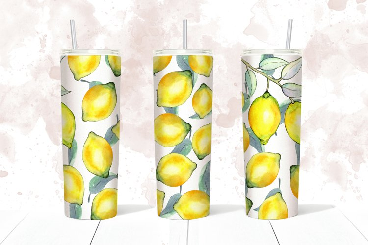 Lemons tumbler design, Summer skinny tumbler 20 oz example image 1