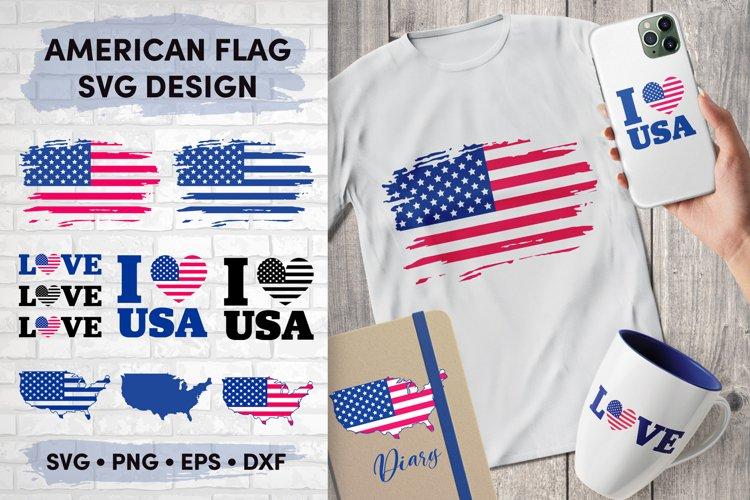 American Flag SVG Bundle, USA Map Flag Layered SVG, Love USA