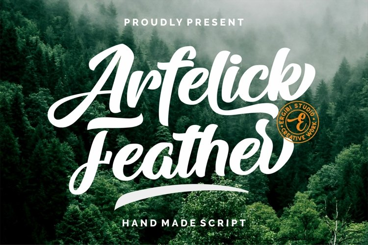 Arfelick Feather -Handmade Script example image 1