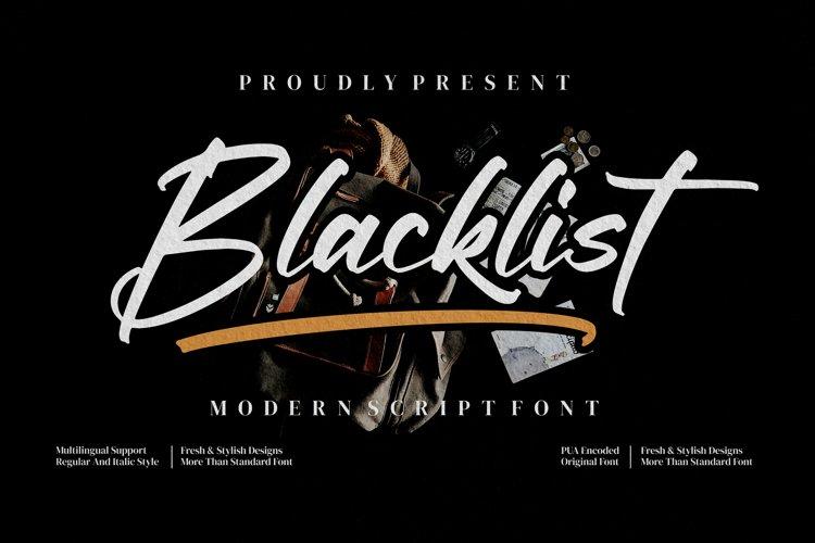 Blacklist - Modern script Font example image 1