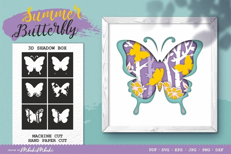 Butterfly 3D Shadow Box SVG Papercut Cutting File