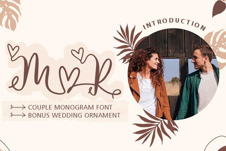 Couple Monogram Font & Wedding Ornament example image 1