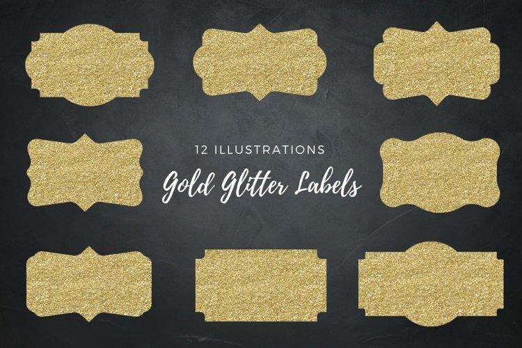 Gold Labels, 12 Gold Glitter Frames