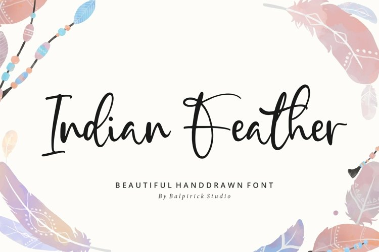 Indian Feather Beautiful Handdrawn Font example image 1
