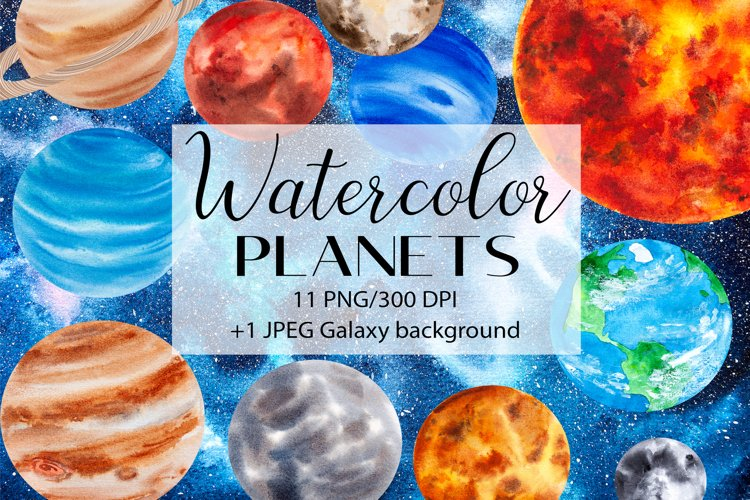 Watercolor Planet Clipart, Solar System PNG Clipart