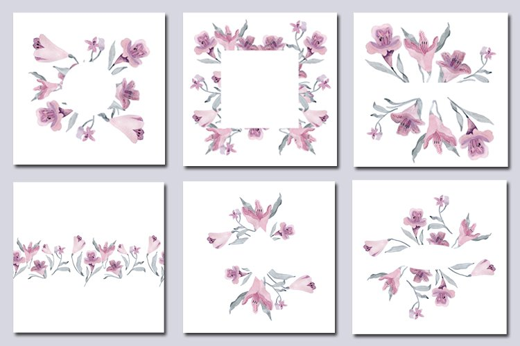 Watercolor clipart floral frame mauve pink gray