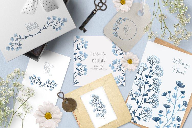 Blue watercolor floral clipart