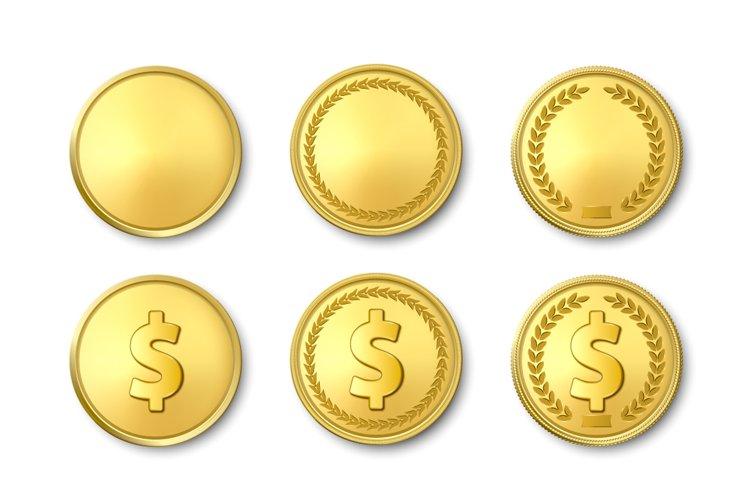 Vector Realistic Golden Coin Set.