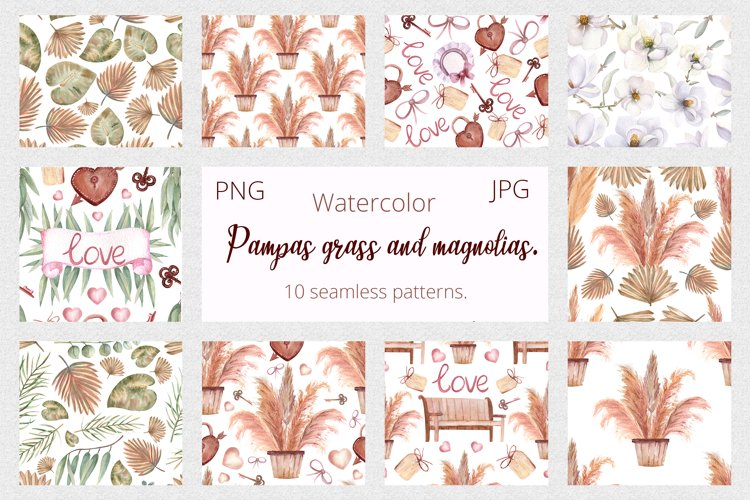Pampas grass and magnolias. Watercolor Seamless Patterns
