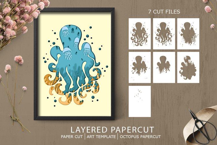 Layered papercut|octopus paper cut| Sea papercut