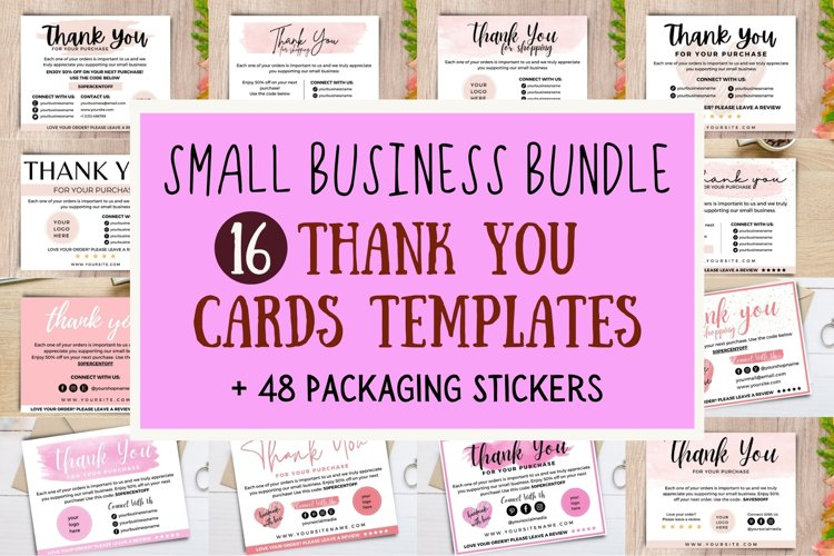 Thank you card for small business template & sticker bundle