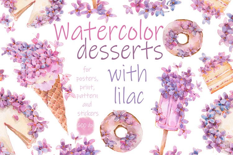 Desserts watercolor with flowers.